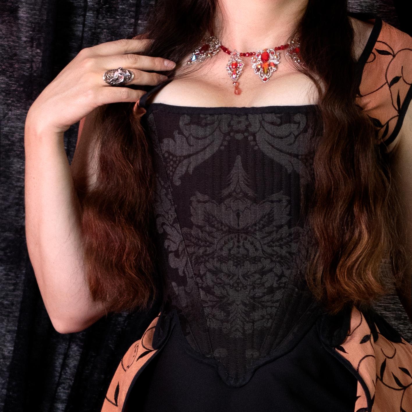 corset, corps baleiné 18e siècle noir